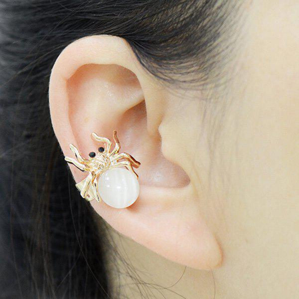 ONE PIECE Faux Opal Ball Spider Ear Cuff - GOLDEN