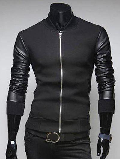 PU Leather Sleeves Casual Jacket - BLACK 2XL