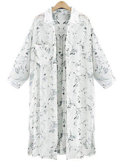 Tiny Floral Pattern Chiffon Long Shirt - WHITE 4XL
