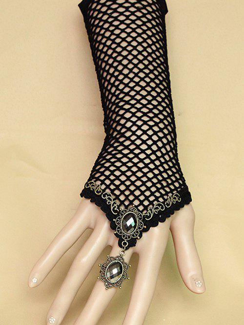 Faux Crystal Lace Slave Bracelet Grid Glove - BLACK