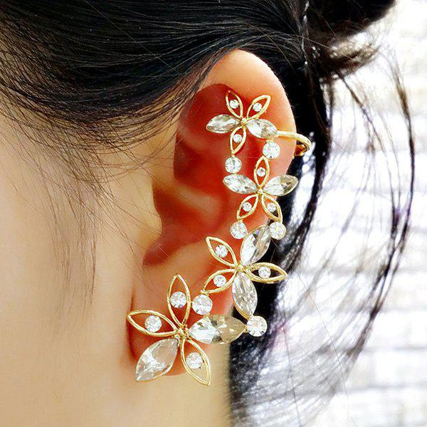 ONE PIECE Artificial Crystal Blossom Ear Cuff - GOLDEN