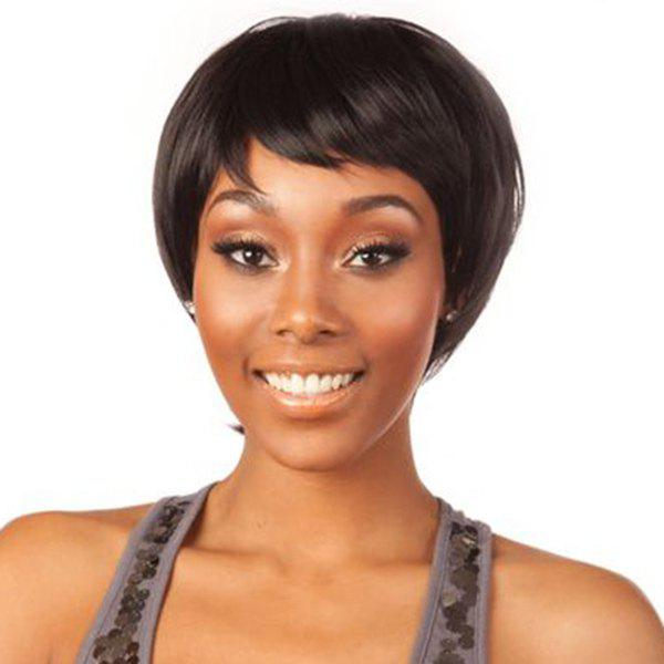 Short Capless Pixie Cut Straight Side Bang Human Hair Wig - JET BLACK