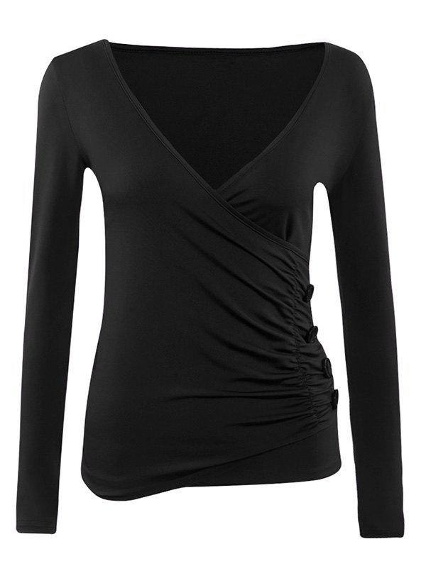 Long Sleeves Ruched Buttoned Top - BLACK XL