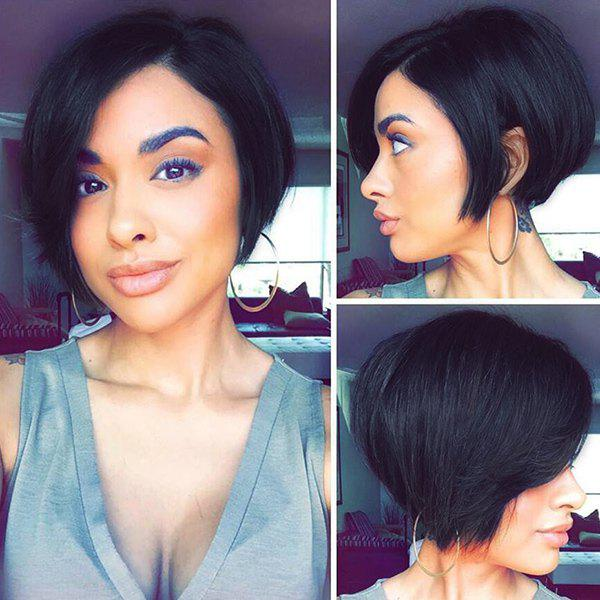 Short Straight Side Parting Capless Human Hair Wig - JET BLACK