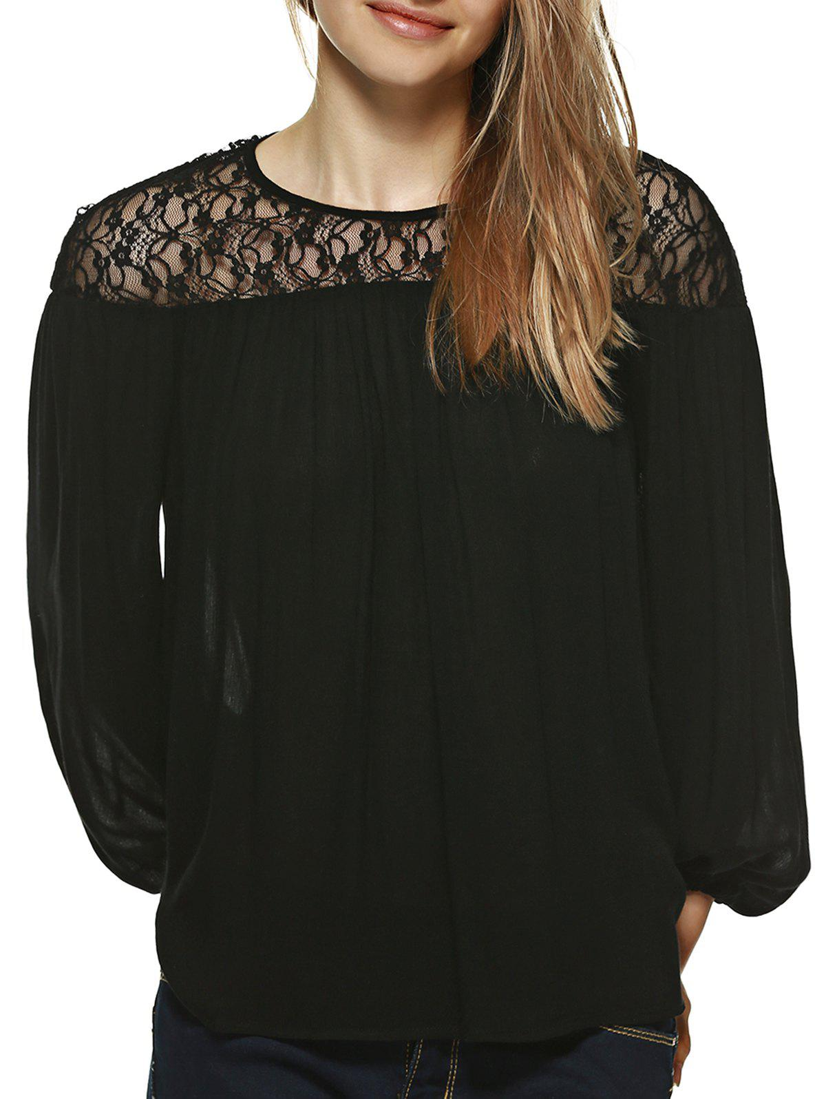 Lace Patchwork Pleated Blouse - BLACK XL
