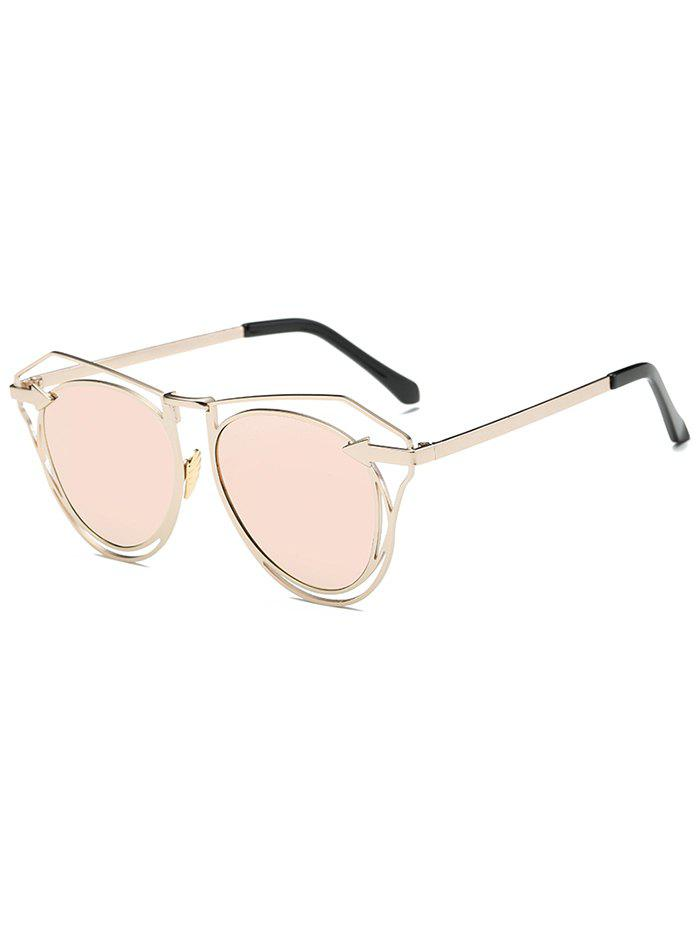 Street Arrow Wire Frame Mirrored Butterfly Sunglasses - SHALLOW PINK
