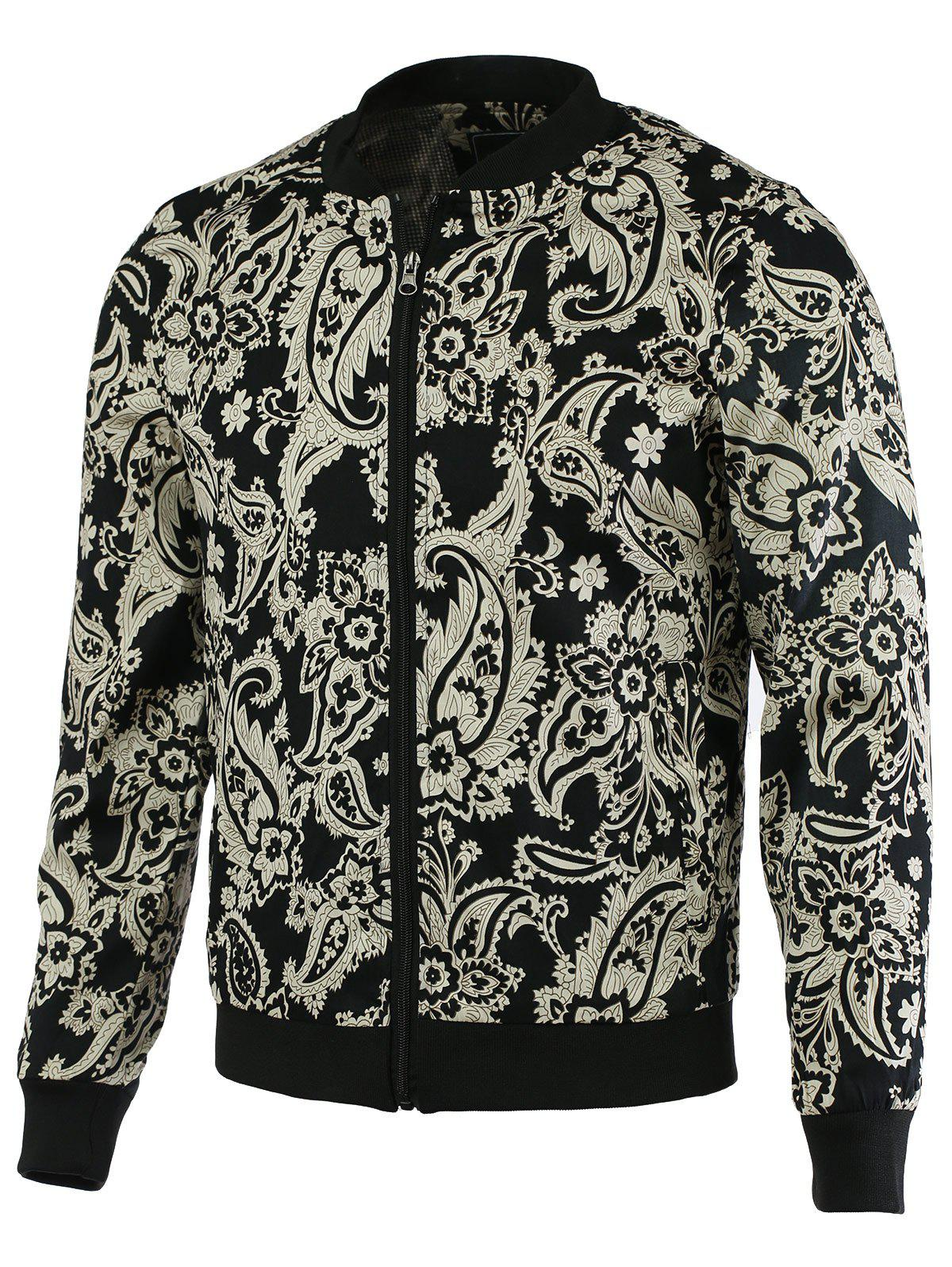 Patchwork Floral Print Zip-Up Jacket leopard floral print zip up jacket