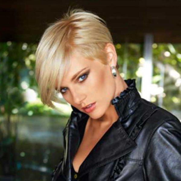 Manly Short Capless Pixie Cut Straight Side Bang Human Hair Wig - GOLDEN BROWN/BLONDE