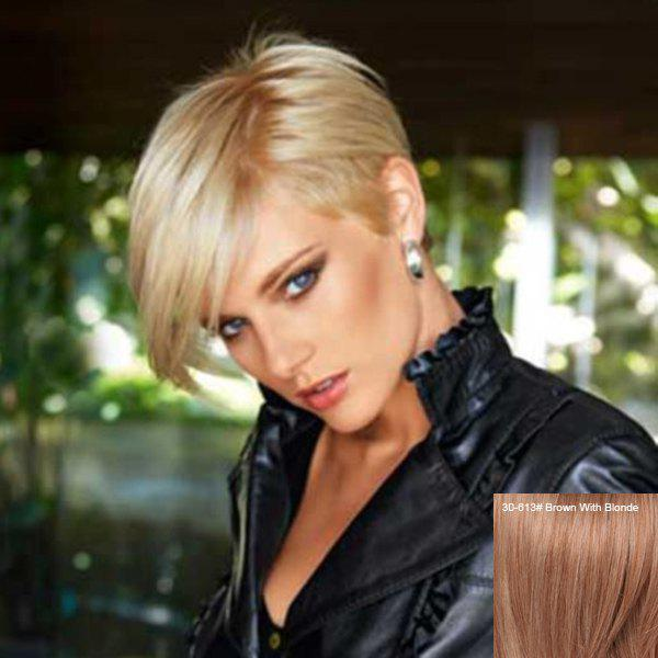 Manly Short Capless Pixie Cut Straight Side Bang Human Hair Wig - BROWN/BLONDE