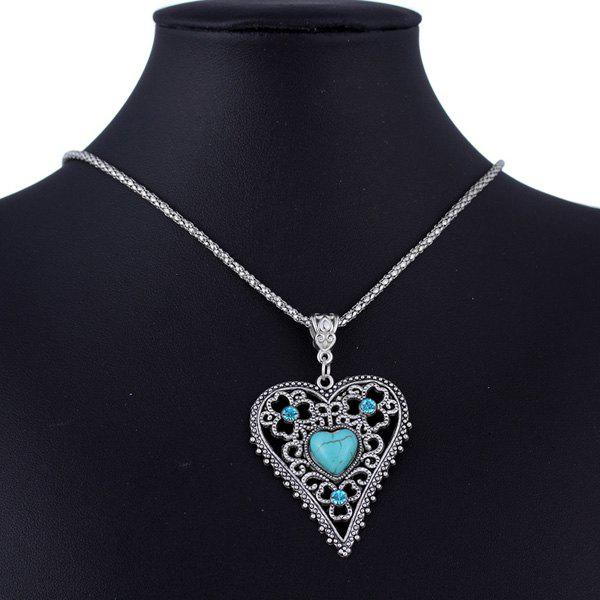 Faux Turquoise Hollowed Heart Sweater Chain - SILVER