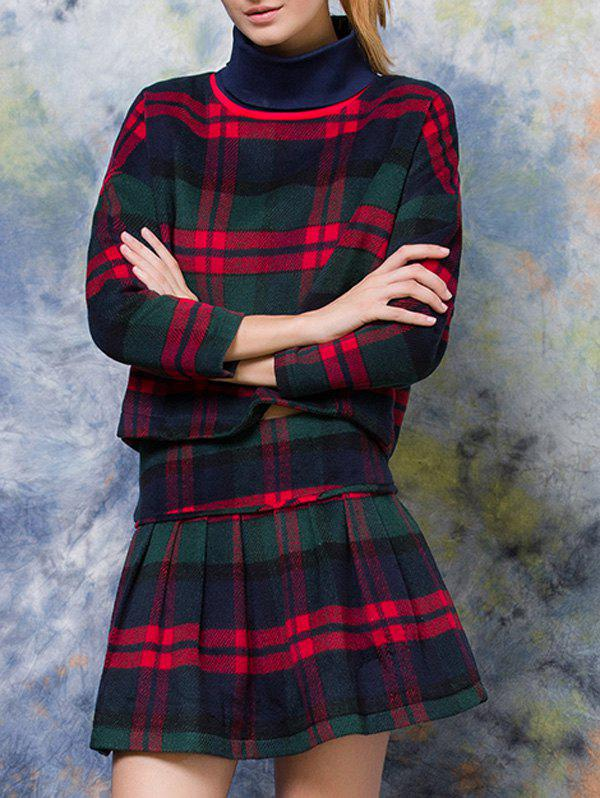 Turtle Neck Plaid Pullover + High Waist Slimming Skirt Twinset - CHECKED L
