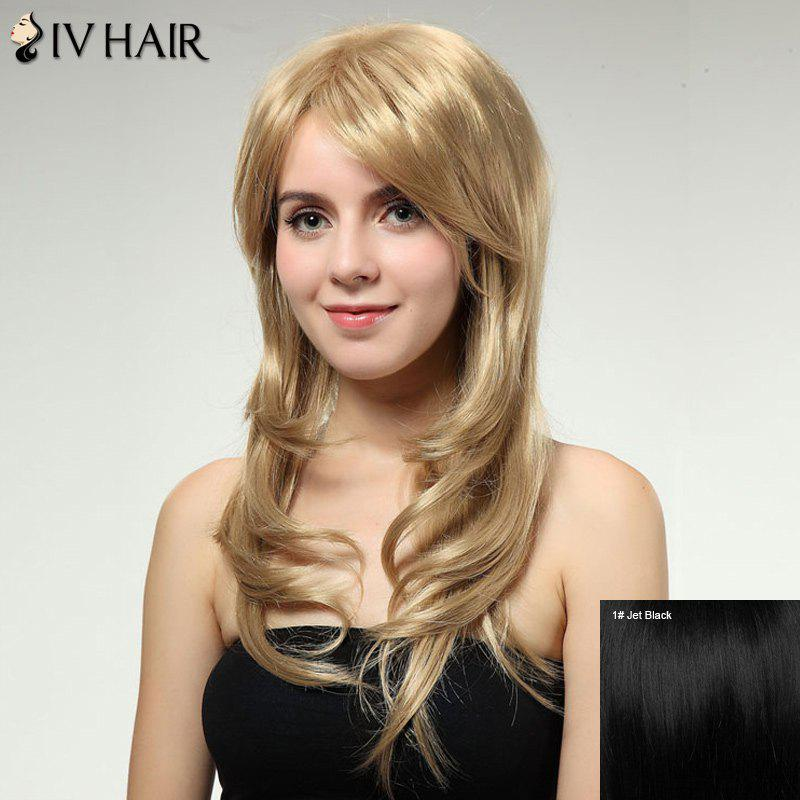 Stunning Long Side Bang Siv Hair Capless Fluffy Wave Human Hair Wig - JET BLACK