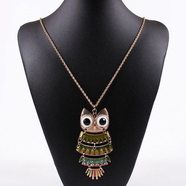 Owl Faux Gemstone Sweater Chain - COLORMIX
