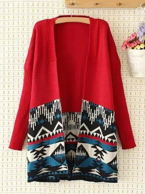 Plus Size Collarless Geometry Jacquard Cardigan - RED XL
