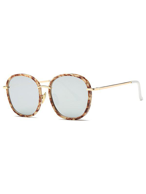 Street Marble Oversized Square Mirrored Sunglasses - LIGHT BROWN