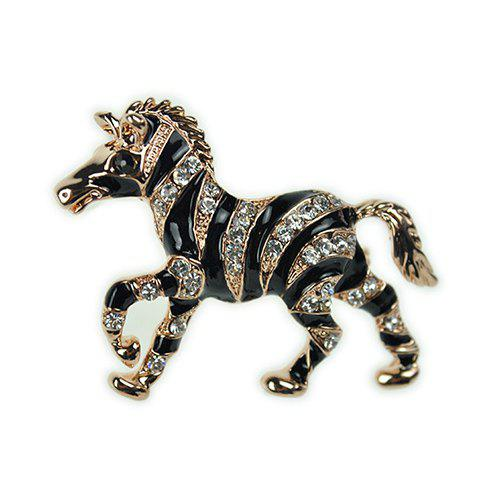 Stylish Black Enamel Rhinestone Stripe Running Horse Brooch