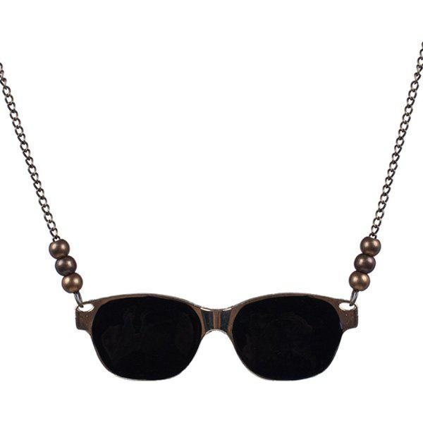 Vintage Metal Paint Sunglasses Sweater Chain - BLACK