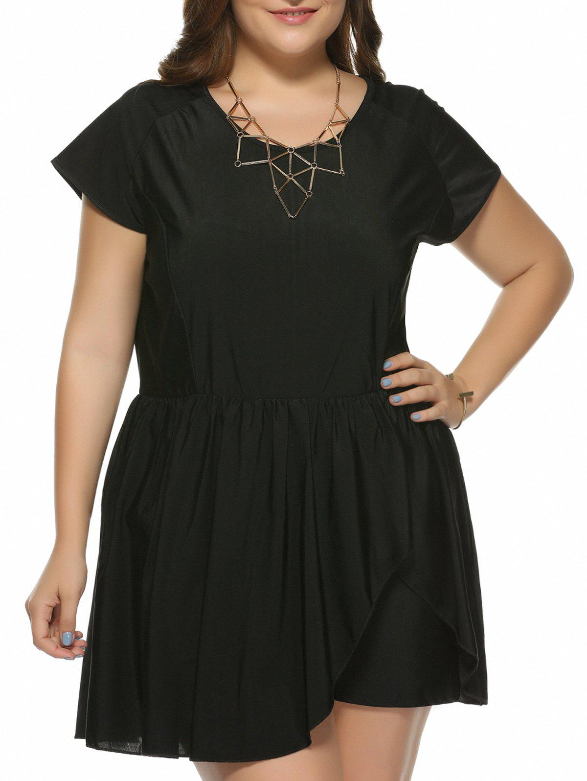 Plus Size Scoop Neck Short Sleeve Romper - BLACK 3XL