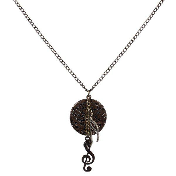 Vintage Musical Note Disc Sweater Chain - COPPER COLOR