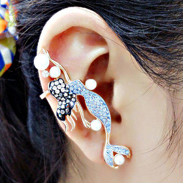 ONE PIECE Faux Pearl Rhinestone Mermaid Ear Cuff - GOLDEN