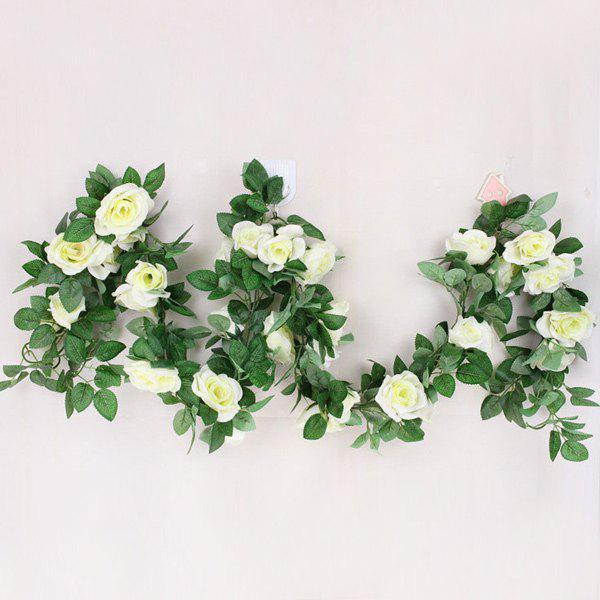 Wedding Party 16 Heads Fake Rose Rattan Artificial Flower - WHITE