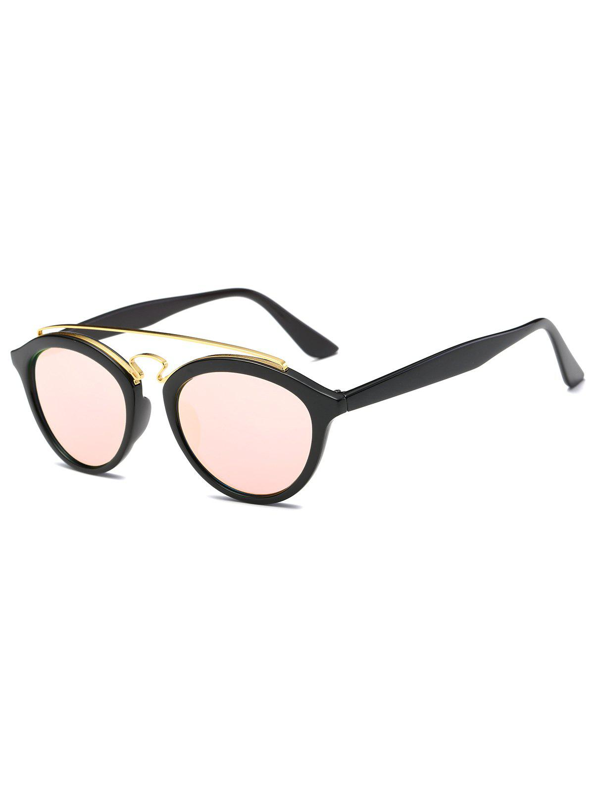 Street Metallic Crossbar Mirrored Trendsetter Sunglasses - PINK