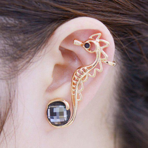 ONE PIECE Artificial Crystal Hippocampus Ear Cuff - GOLDEN