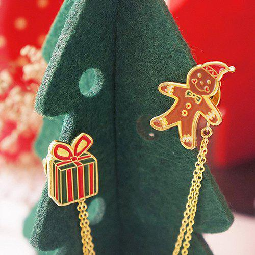 Stylish Enamel Christmas Gift and Cookies Layered Chain Brooch - GOLDEN