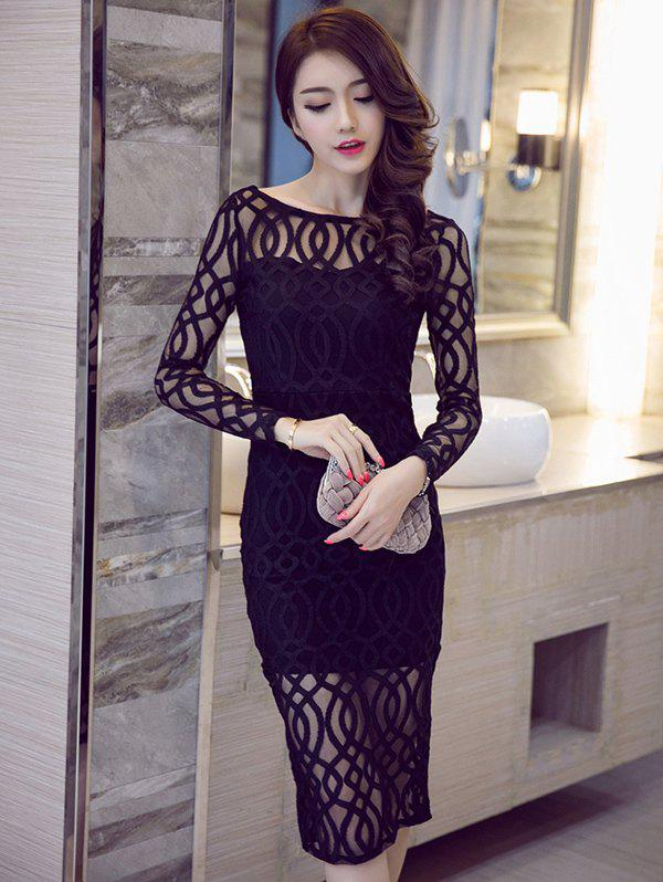 Long Sleeve Boat Neck See-Through Pencil Dress long sleeve plunge see through lace tight pencil dress
