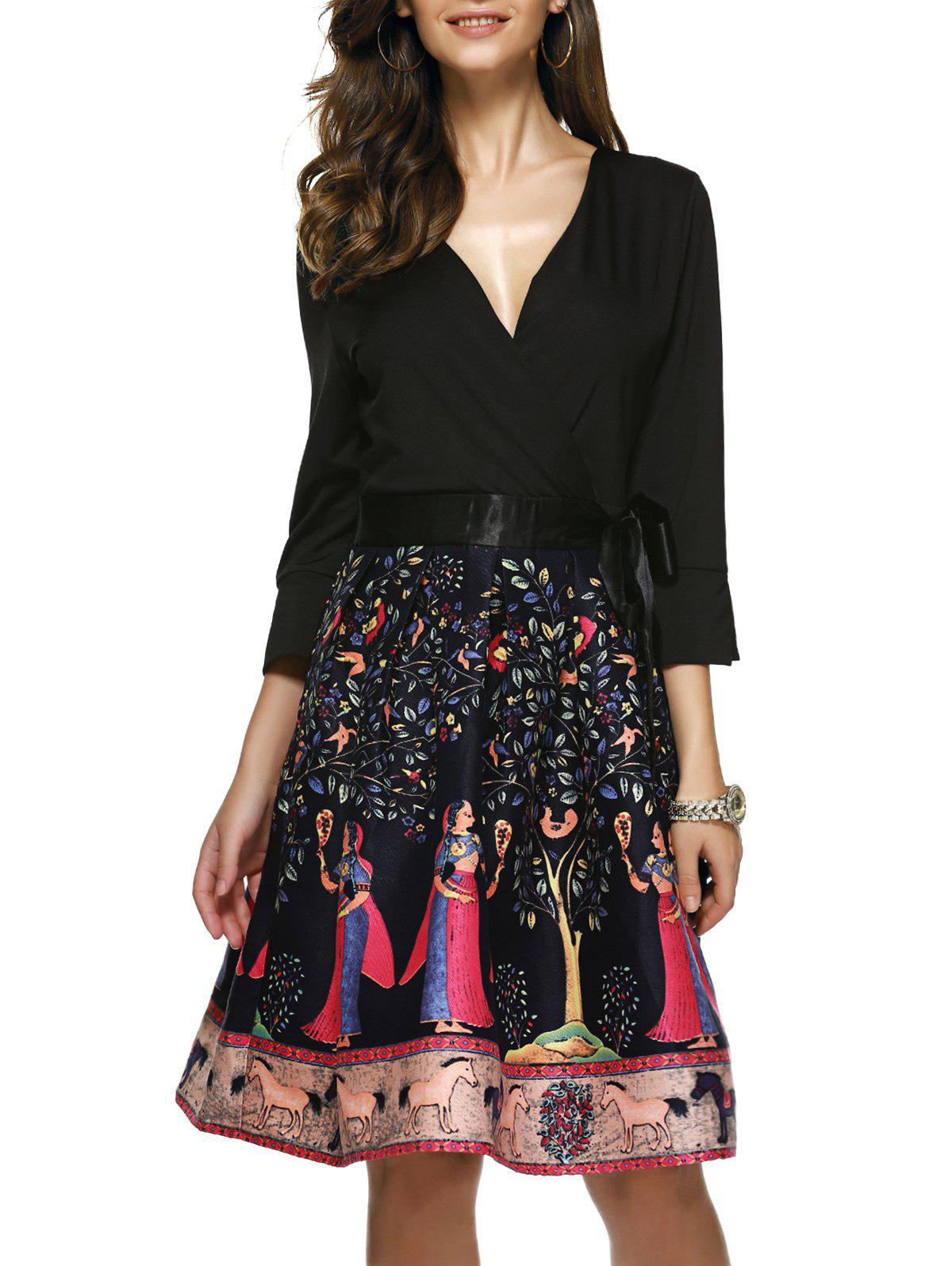 Tie-Side Fit and Flare Dress - BLACK XL