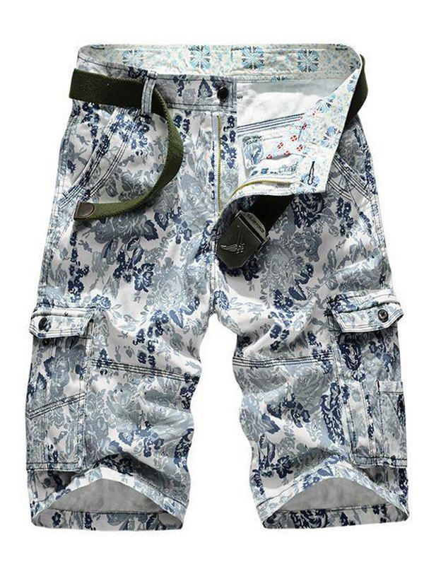 Floral Printed Multi Pockets Zipper Fly Cargo Shorts - BLUE 38