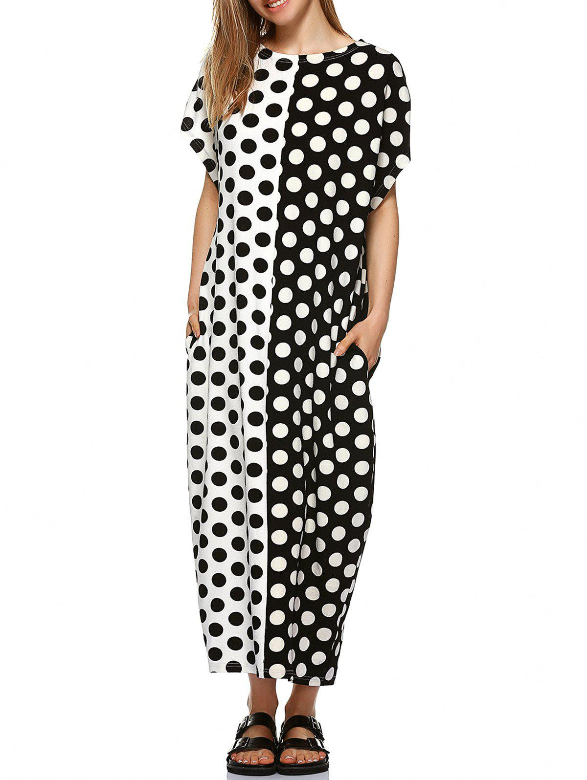 Polka Dot Print Hit Color Baggy Dress - WHITE/BLACK XL