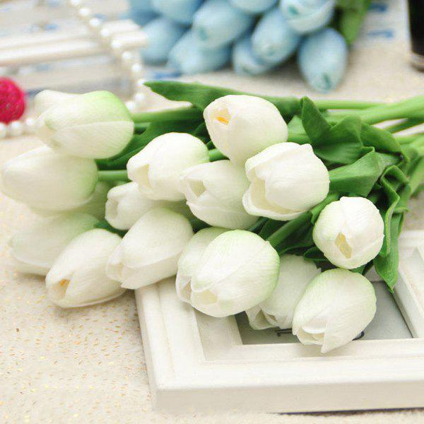 Home Decor réel tactile PU Tulip Bouquet de fleurs artificielles - Blanc