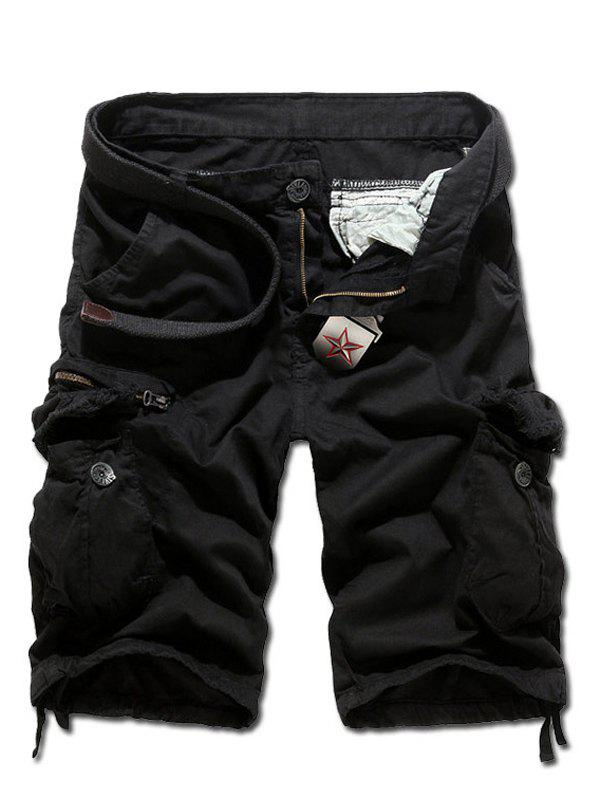 Frayed Multi Pockets Zipper Fly Drawstring Cuff Cargo Shorts - BLACK 38