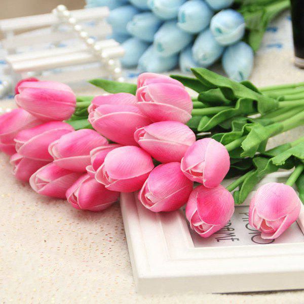Home Decor Real Touch PU Tulip Bouquet Artificial Flowers - DEEP PINK