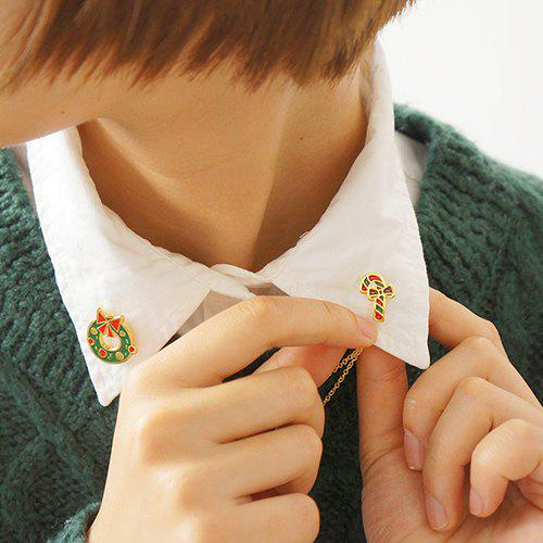Trendy Stripe Christmas Gift Bowknot Layered Brooch - GOLDEN