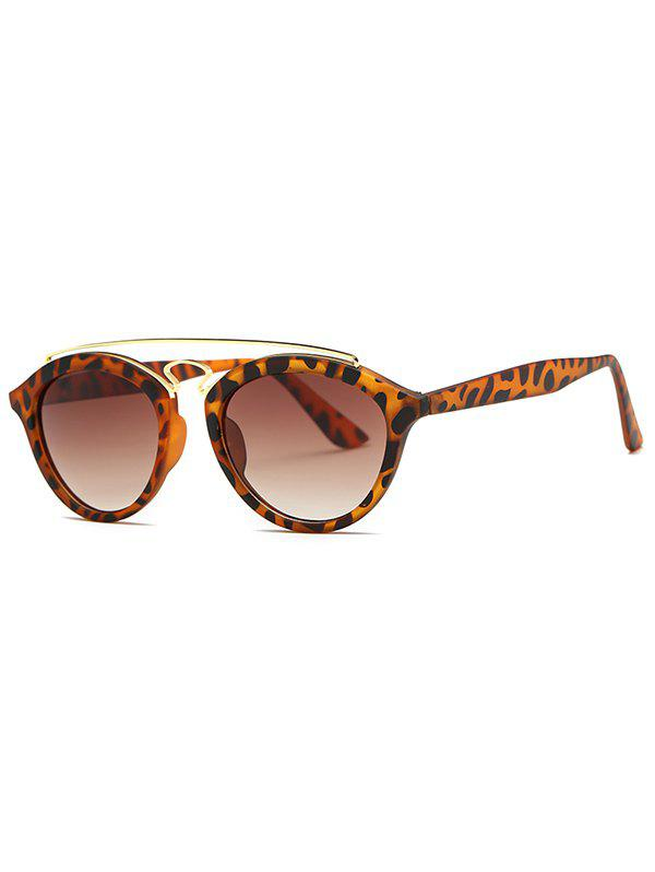 Street Crossbar Leopard Pattern Trendsetter Sunglasses - BROWN