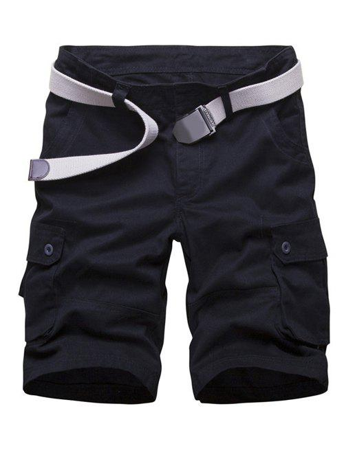Multi Pockets Zipper Fly Cargo Shorts - BLACK 44
