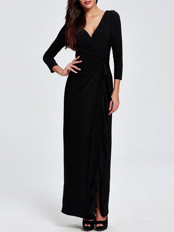 Plunging Neck High-Slit Maxi Dress