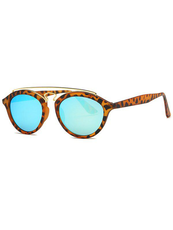 Street Crossbar Leopard Mirrored Trendsetter Sunglasses - LIGHT BLUE