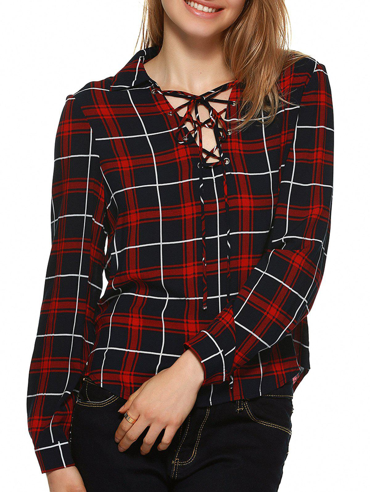 Plaid Flannel Lace Up Front Blouse - BLACK/WHITE/RED L
