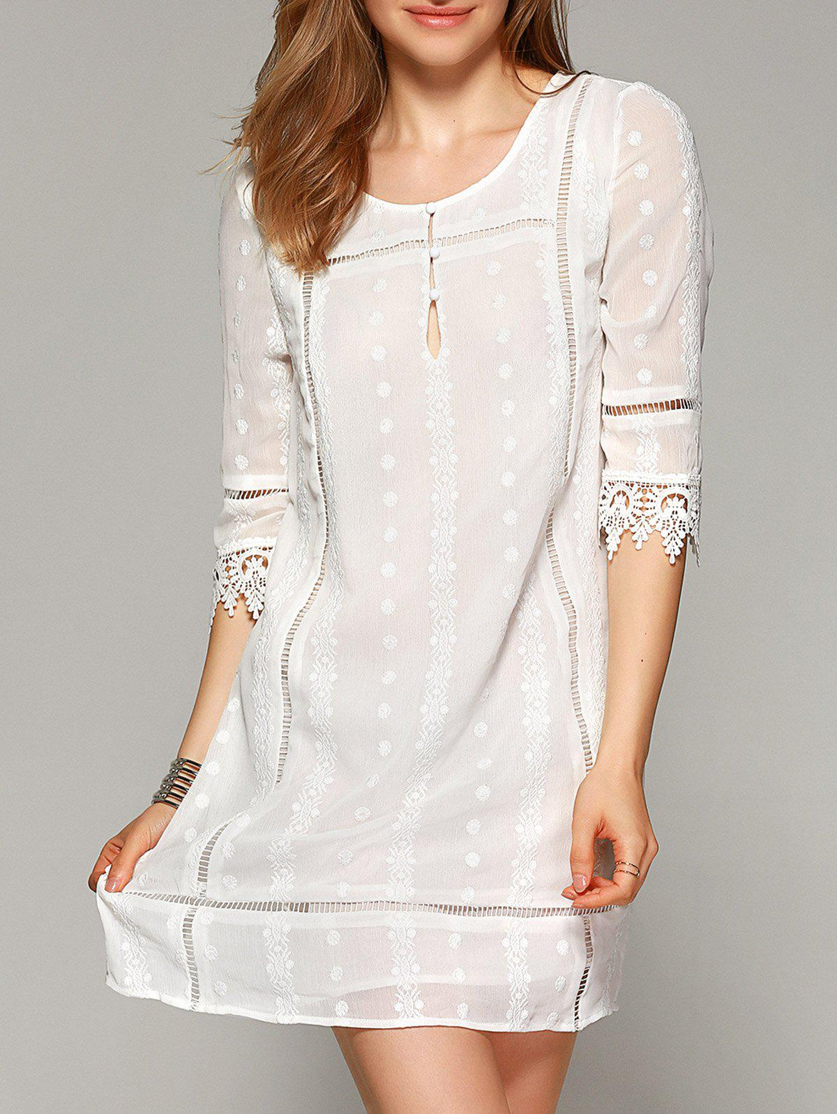 Sweet Lace Patchwork Hollow Out Dress - OFF WHITE XL