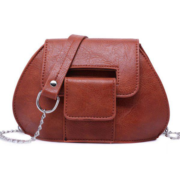 Cover Chains Crossbody Bag - BROWN