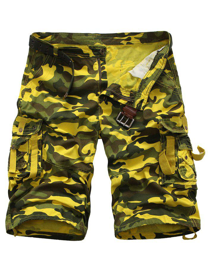 Zipper Fly Camouflage Multi Pockets Cargo Shorts - YELLOW 38