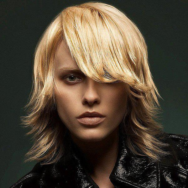 Manly Short Tail Upward Capless Straight Side Bang Human Hair Wig - BLONDE