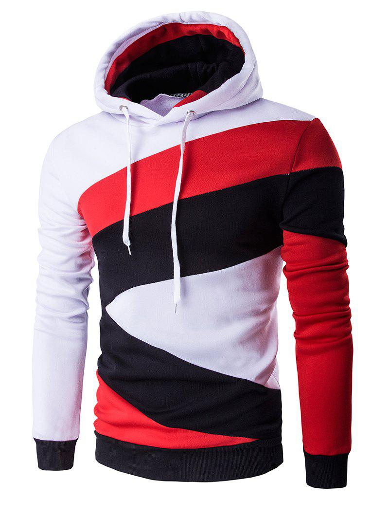 Casual Long Sleeves Spliced Hoodie - WHITE 2XL