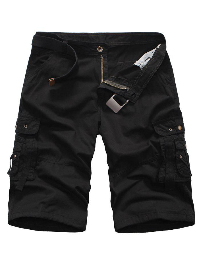 Multi Pockets Zipper Fly Rivet Embellished Cargo Shorts - BLACK 38