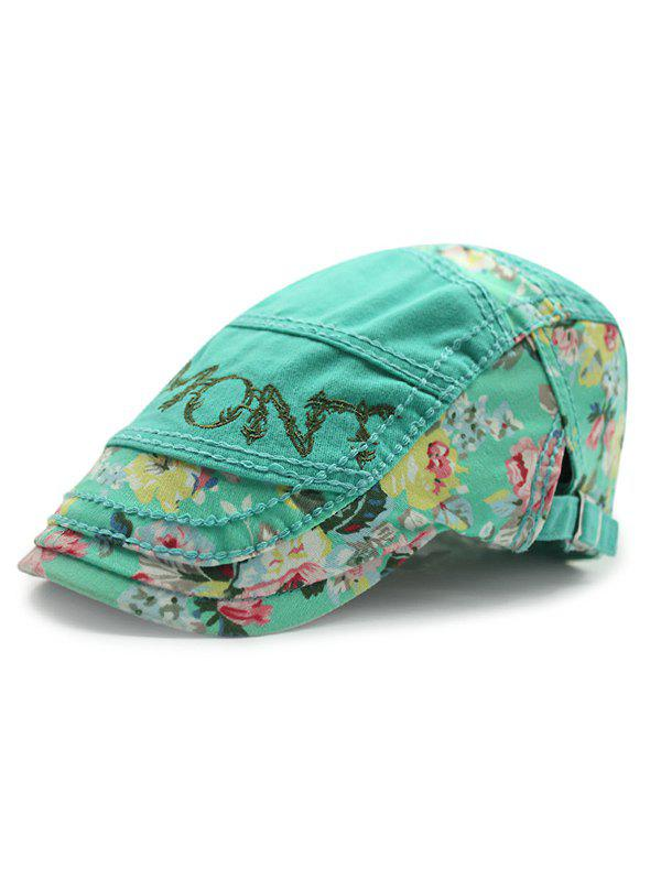 Summer Outdoor Sunscreen Letter Embroidery Tiny Flower Casual Ivy Newsboy CapAccessories<br><br><br>Color: MINT GREEN