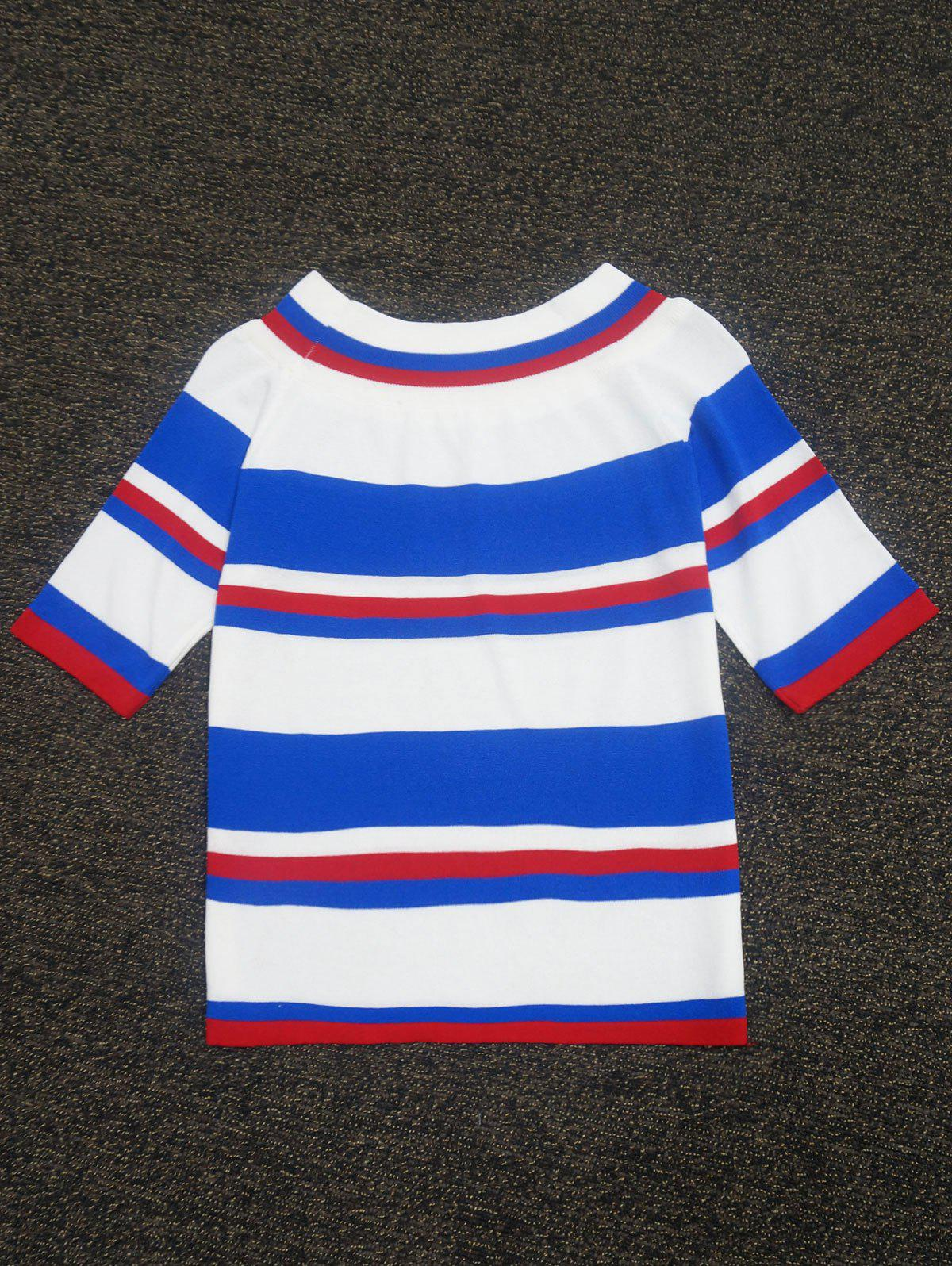 Color Block Striped Knitted Sweater color block buttons knitted sweater