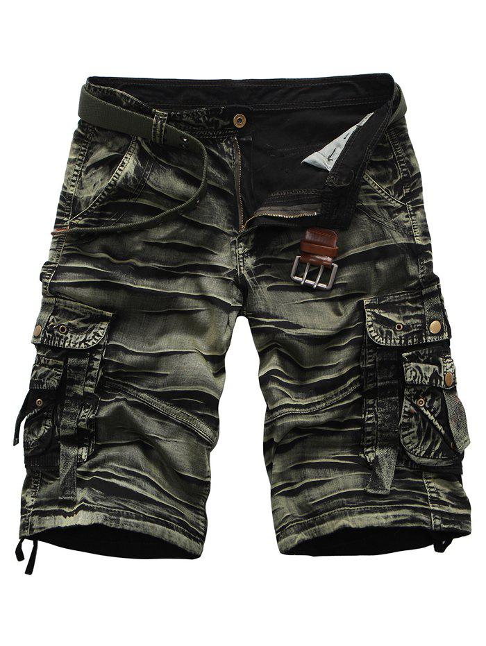 Multi Pockets Zipper Fly Rivet Embellished Crinkly Cargo Shorts - ARMY GREEN 38